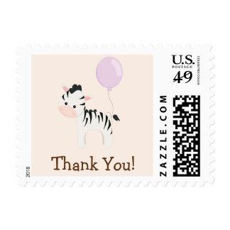 Baby Zebra, Purple, Jungle Animal Thank You Stamp