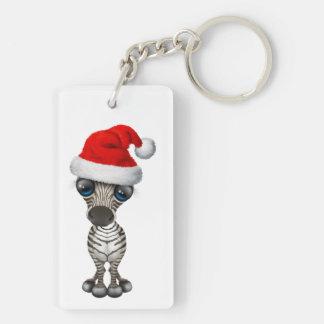 Baby Zebra Wearing a Santa Hat Keychain