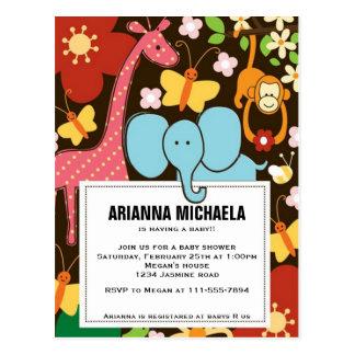 Baby Zoo Animals Baby Shower Invitation Postcard