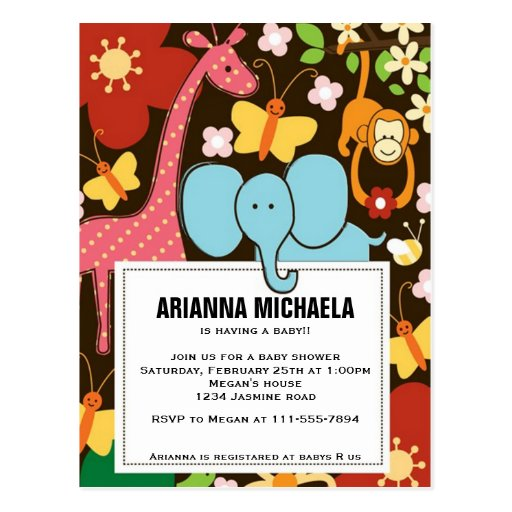 Baby Zoo Animals Baby Shower Invitation Post Cards