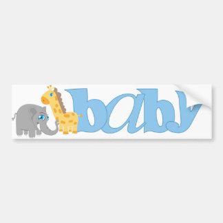 Baby Zoo Animals in Blue Car Bumper Sticker