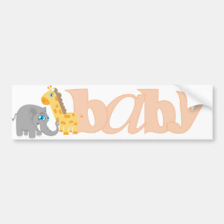 Baby Zoo Animals in Melon Car Bumper Sticker