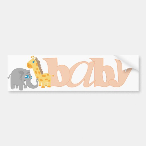 Baby Zoo Animals in Melon Bumper Sticker