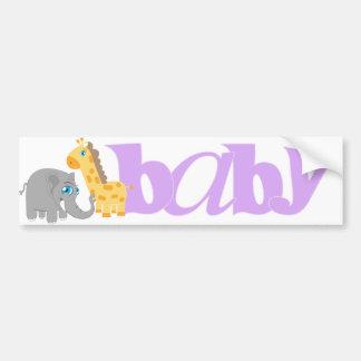Baby Zoo Animals in Purple Car Bumper Sticker