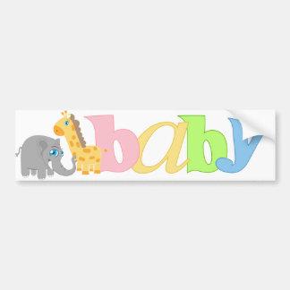 Baby Zoo Animals in Rainbow Car Bumper Sticker