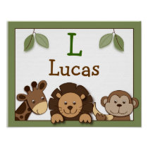 Baby Zoo Jungle Animal Nursery Wall Art Name Print