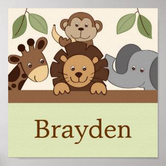 Baby Zoo Jungle Animal Personalized Name Art Print