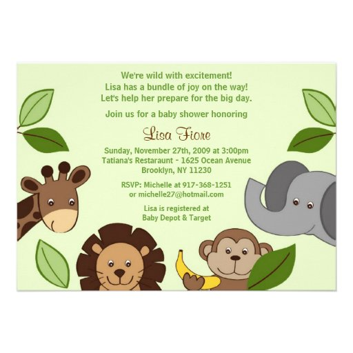 baby zoo jungle animals baby shower invitations 5 x 7 invitation