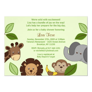 Baby Zoo Jungle Animals Baby Shower Invitations