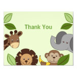 Baby Zoo Jungle Animals Thank You Note Cards Announcements