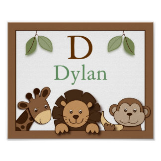Baby Zoo Jungle Animals Wall Art Name Print