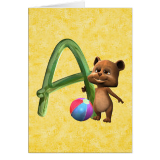 BabyBear Toon Monogram A Card