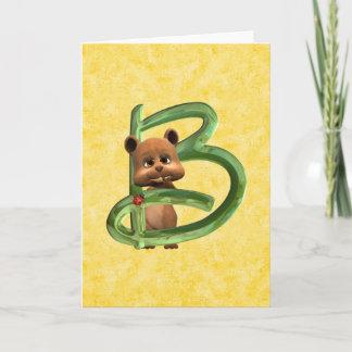 BabyBear Toon Monogram B Note Card