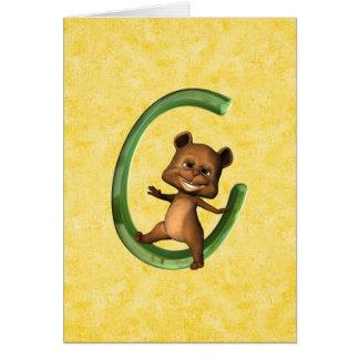 BabyBear Toon Monogram C Card
