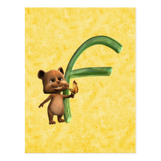 BabyBear Toon Monogram F Postcard
