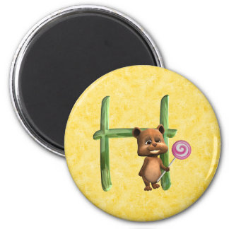 BabyBear Toon Monogram H 2 Inch Round Magnet