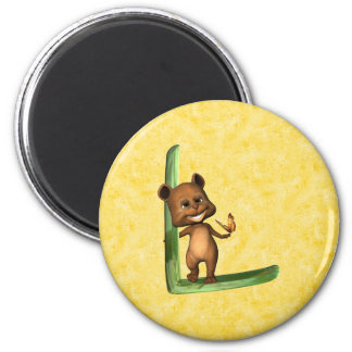 BabyBear Toon Monogram L 2 Inch Round Magnet