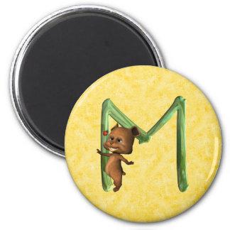 BabyBear Toon Monogram M 2 Inch Round Magnet