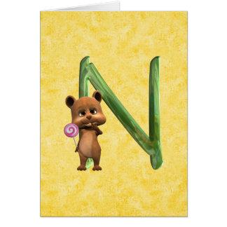 BabyBear Toon Monogram N Greeting Card