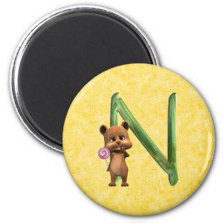 BabyBear Toon Monogram N Magnet