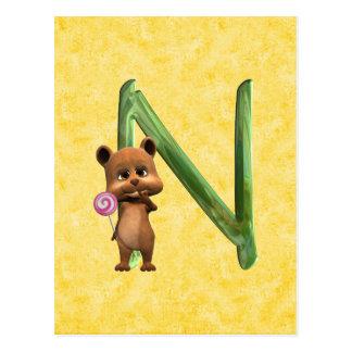 BabyBear Toon Monogram N Postcard