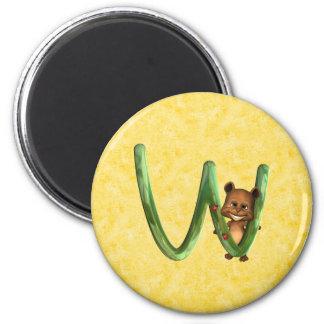 BabyBear Toon Monogram W 2 Inch Round Magnet