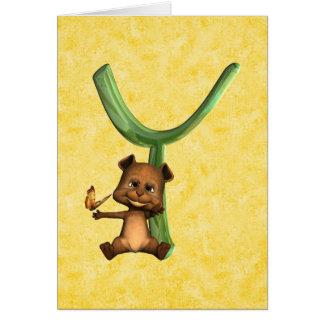 BabyBear Toon Monogram Y Card