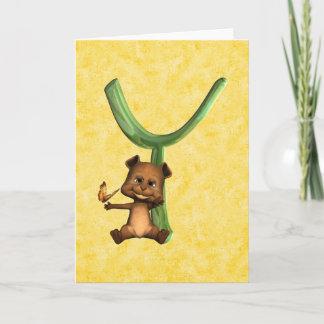 BabyBear Toon Monogram Y Note Card