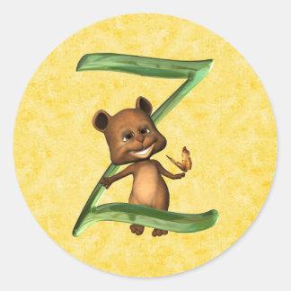 BabyBear Toon Monogram Z Classic Round Sticker