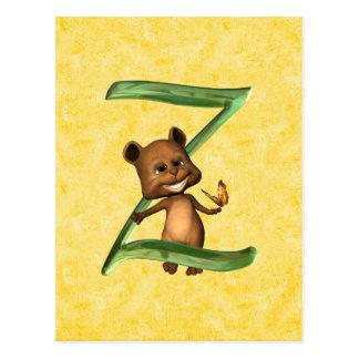 BabyBear Toon Monogram Z Postcard