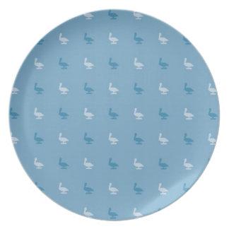 babyblue pelicanes party plates