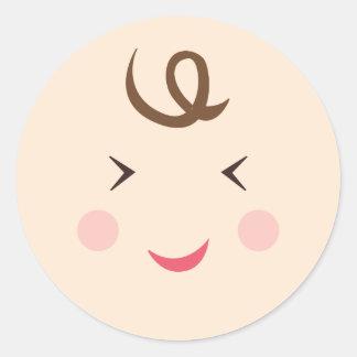 babyboyface5 classic round sticker