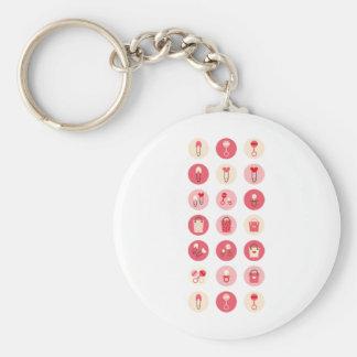 BabyGirlAll2 Basic Round Button Keychain
