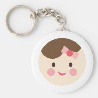 BabyGirlFace1 Basic Round Button Keychain