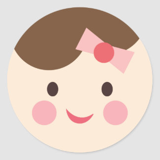 BabyGirlFace1 Classic Round Sticker