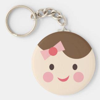 BabyGirlFace2 Basic Round Button Keychain
