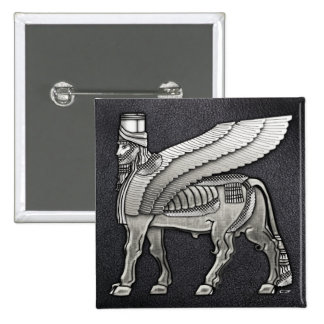Babylonian Winged Bull Lamassu Button