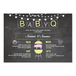 BABYQ Baby Shower Pink Chalk Hog Roast Invite