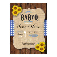 BaByQ BBQ Baby Shower Blue Sunflower Invite