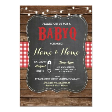 Toddler & Baby themed BaByQ BBQ Baby Shower Red Chalk Wood Invite