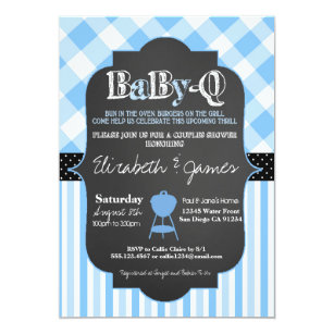 BabyQ BBQ Couples Baby Boy Shower invitation
