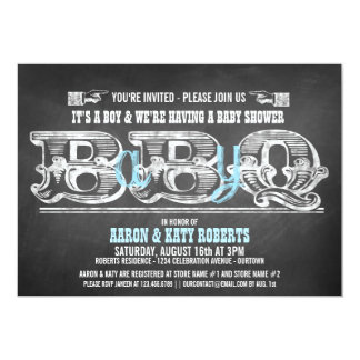 Babyq (boy) Baby Shower Barbeque Invitations