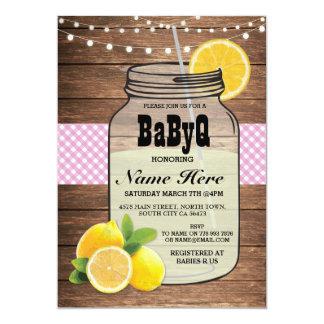 BaByQ Gender Reveal Baby Shower Pink Check Invite