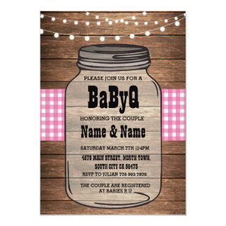BaByQ It's A Girl Baby Shower Pink Check Invite