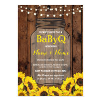 BaByQ Sunflower BBQ Baby Shower Jar Wood Invite