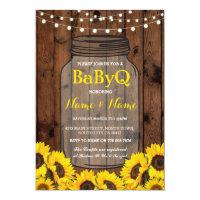 BaByQ Sunflower BBQ Baby Shower Jar Wood Invite