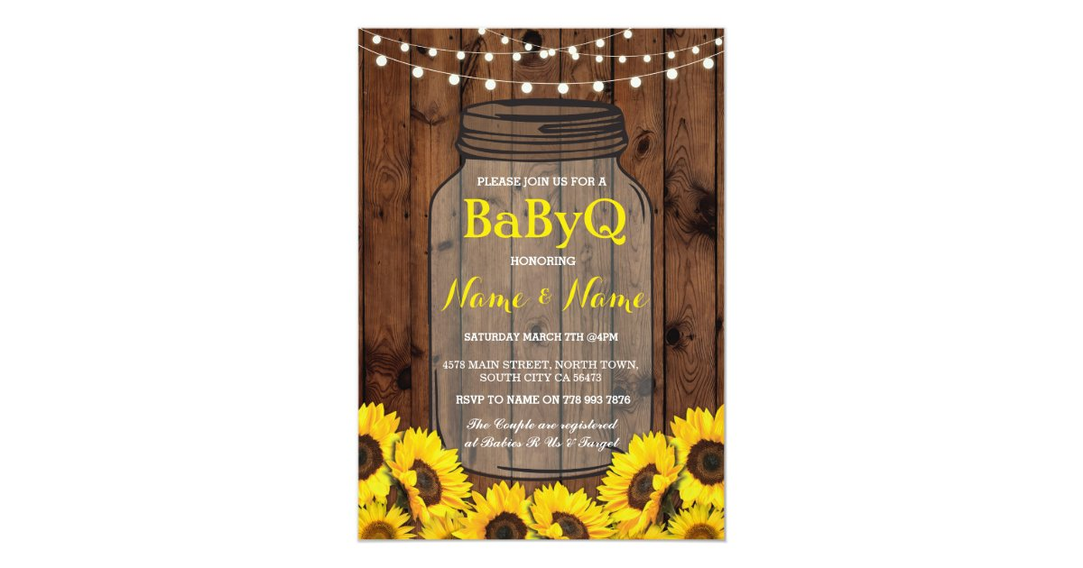 BaByQ Sunflower BBQ Baby Shower Jar Wood Invite   Zazzle.com