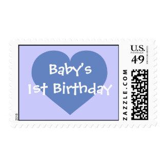 Baby's 1st Birthday - Baby Blue Heart Postage