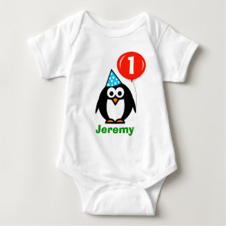 Baby's 1st Birthday creeper | penguin and balloon