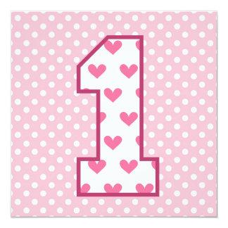 Baby's 1st Birthday Custom Name Modern Hearts V07B Card